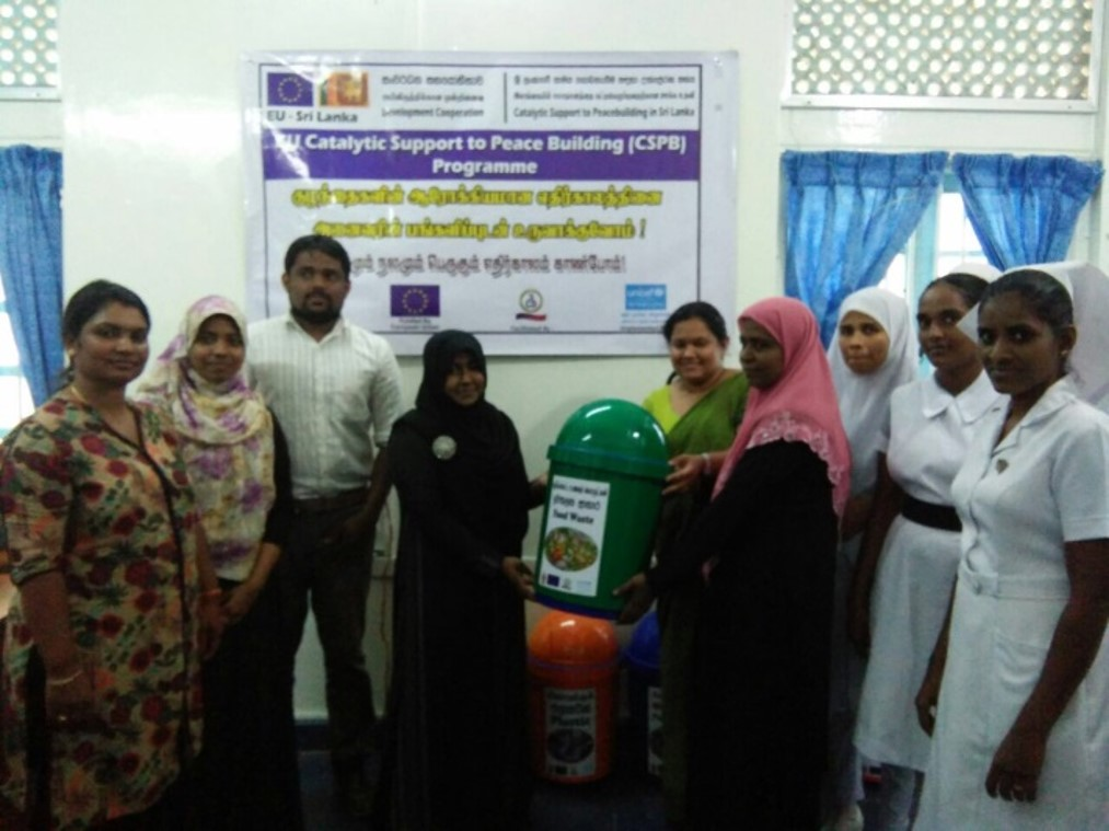 While handed over the waste management support bins to Muthur base Hospital
