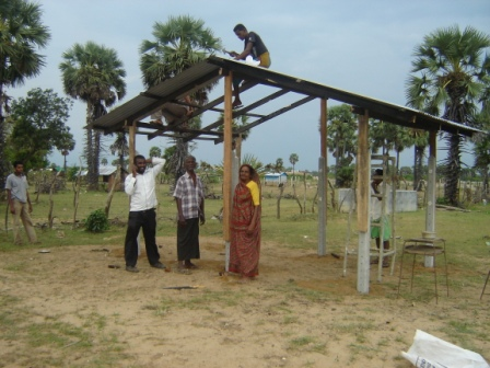Temporary huts for Flood affected families